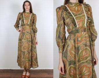 70s Boho Paisley Maxi Dress // Vintage Hippie Ruffle Bib Puff Sleeve Prairie Dress - Extra Small xs