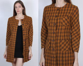 60s Plaid Coat // Vintage Wool Jacket Button Up Pea Coat Brown Fitted Womens - Extra Small XS