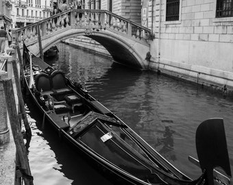 Venice Gondola Photography, Italy Photography, Venice Canals, Fine Art Print, Black and white, Italy Photo, Venice Print, Venice Wall Art
