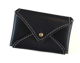 Black Stitched Leather Card Holder