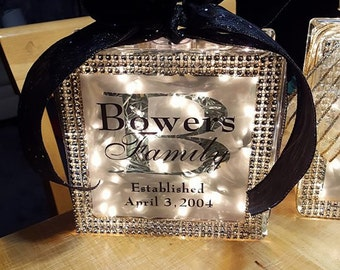 Custom Lighted Glass Blocks Family Names with Bling Lights and Bow