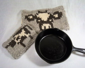 Rustic Cow  and Calf Potholders
