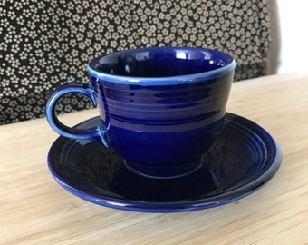 Fiesta Fiestaware Modern Cobalt Blue - Coffee / Tea Cup and Saucer - Homer Laughlin Company - Repaired Handle