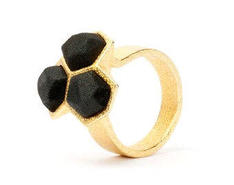 geometric gold and black ring, 3D printed jewelry, statement ring, modern ring, nylon ring, contemporary jewelry