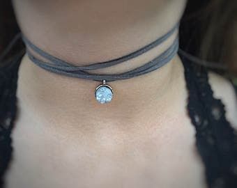 Gray stone Gray leather Wrap Choker Necklace