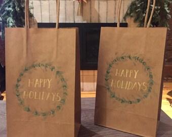 Christmas Wreath Gift Bag Set