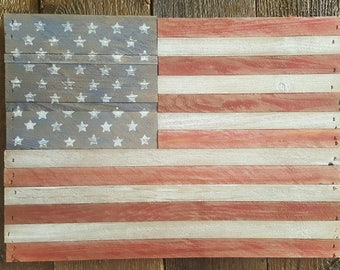 Wood, Rustic American Flag