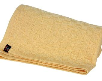 100% Superfine Merino Baby Blanket (Chamoise)