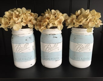 Striped Mason Jar Vase