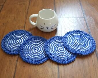 Crochet Coasters 4 pc set (Blue/White Swirl)