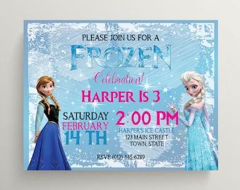 Frozen Birthday Party Invitation, Printable, Digital File, 5x7, Printable Frozen Invitation, Ana, Elsa, Frozen Birthday Printable