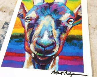 Colorful Goat Print by Artist Robert Phelps-farm decor, goat art, cute goats, goat art print, goat painting, gift for goat lovers, farm art