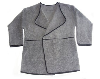 Vintage women vest waistcoat gray wool Made in Italy