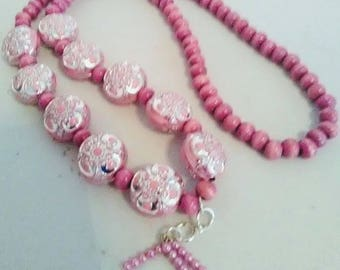 Festive Pink Necklace of wood and acrylic puff beads and crafted Headpins and craft pink pearls