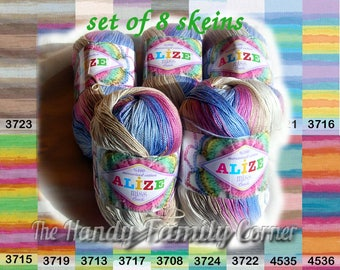Batik designed cotton yarn Alize Miss Batik, lot of 8 skeins. 100% Mercerized Cotton. Multicolor. Wholesale DSH