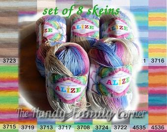 Batik designed cotton yarn Alize Miss Batik, lot of 8 skeins. 100% Mercerized Cotton. Multicolor. Wholesale DSH