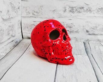 Ceramic skull, Hand Painted Red Glaze, Black spots, Gothic gift, Birthday present, weird and wonderful