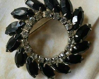 Glamorous Vintage Chandelier Earrings and Brooch Jewelry Set, Siluane Earrings, Dark Rhinestones