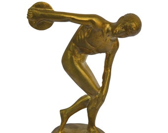 Discobolus of Myron miniature statue ancient Greek bronze polished Discus thrower reproduction sculpture