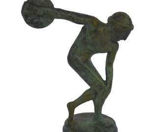 Discobolus miniature statue ancient Greek bronze Discus thrower reproduction sculpture