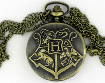 Hogwarts Watch Necklace or Keychain Bronze Color