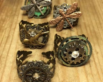 STEAMPUNK FUN! Adjustable Ring, Five designs to choose from. Please be specific when choosing the ring you want. Price listed is per ring.