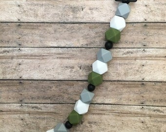 Grey and Green Pacifier Clip