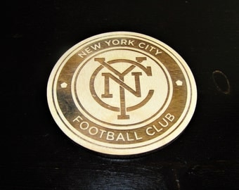 New York City Football Club Wooden Coasters - Unfinished coasters, ready for use or DIY - NYC FC - use your own paint or stain