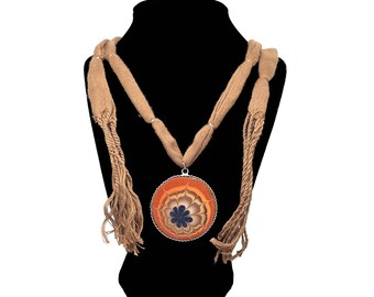 Autumn Harvest – Art On Glass Necklace – one size fits all