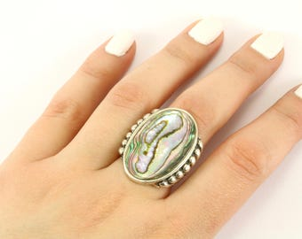 Vintage Large Oval Abalone Ring 925 Sterling Silver RG 1302-E