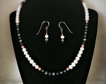 Freshwater Pearl Stunning Black White Blue Pearls Copper beads Hammered Copper Findings Earring Necklace Set