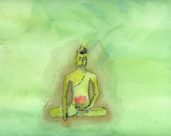 Radiant Buddha in Forest a digital download of an original watercolor painting