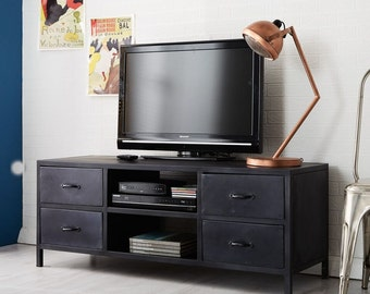 Metalica dark TV media unit/cabinet - Made from 100% reclaimed metal - 4 drawers
