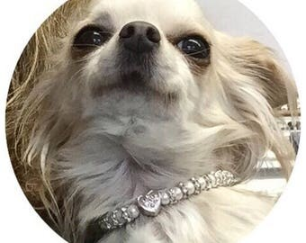 XS Toy Dog Necklace, Glitzy Glamour Pale Pink Pearl & Crystal Necklace for the furry princess about town, handbag dog chic