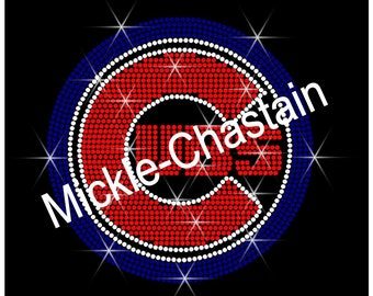 "Rhinestone Transfer ""Chicago Cubs"" Hotfix , Iron On, Bling"