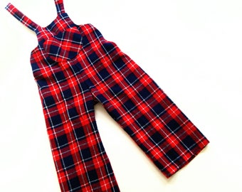 70s Tartan DunGarEes VinTage boys in size 1-2Y oldschool hiPster LatzHose retro 70s