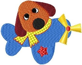 Puppy Plane Embroidery Design