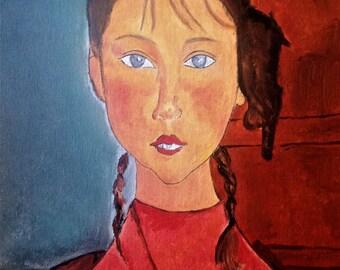 Girl with braids, Amadeo Modigliani