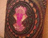 Ganesha, mandala, amulet, henna, henna painting, mehendi, mehndi, mindy, acrylic paint, fortune, success, canvas, God, yoga, wall decor, art