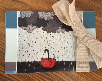 4 Seasonal Postcards- Spring/Summer Stationery Set Includes: Rainy Day, Robot Love, Cherry Blossoms, and Whale Tail Postcards