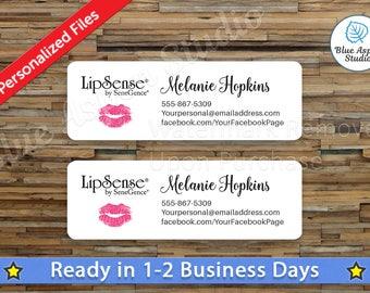 Lipsense Labels Stickers Printable Address Label Logo Digital Printed Personalized Name Custom PDF Sticker Vistaprint Pink Lips LPS-AL105
