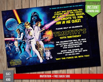 STAR WARS Invitation - Disney Star Wars Luke Skywalker Vintage Invite, Editable Text PDF Birthday Party Invitation, Instant Download