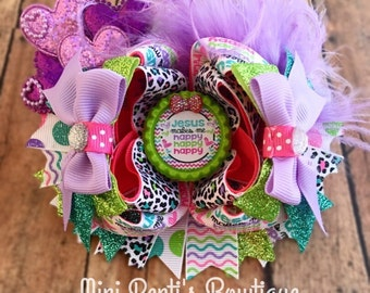 Very Colorful 5.5 inch Over the Top, Jesus Make Me Happy Girls Boutique Style Hair Bow.