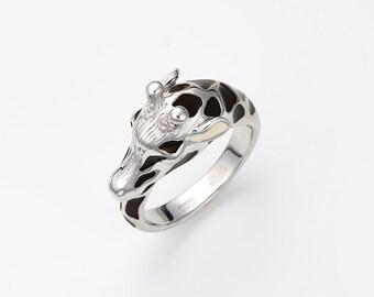 "Enamel silver ring ""Giraffe"", Giraffe ring, Animal jewelry"