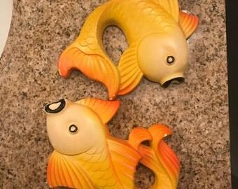 Vintage Chalkies Gold Fish Wall Art