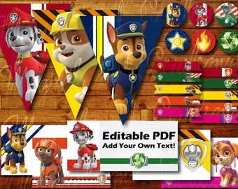 100+ pages Printable Paw Patrol Birthday Party Decoration Instant Digital Download with Paw Patrol Party Banner / Bunting / Cupcake Toppers