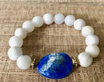 Lapis Lazuli Bracelet, Quartz Bracelet, Quartz Jewelry, Resort Jewelry, Boho jewelry, Beach Bracelet, large stone bracelet, boho jewelry