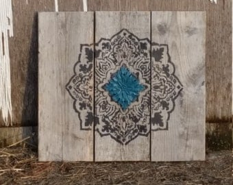 Mandala Sign, Turquoise, Gray Mandala sign, pallet wood sign, Rustic decor, repurposed wooden sign, graduation gift