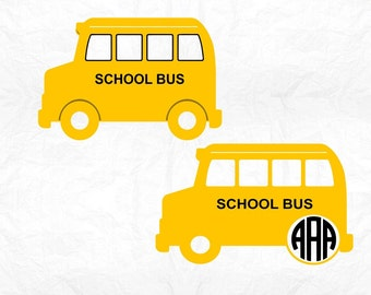 School bus monogram  SVG Clipart Cut Files Silhouette Cameo Svg for Cricut and Vinyl File cutting Digital cuts file DXF Png Pdf Eps vector
