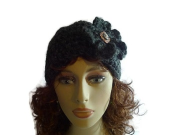 Handmade Crochet Beanie Hat Accented with Flower and Cameo Button 124